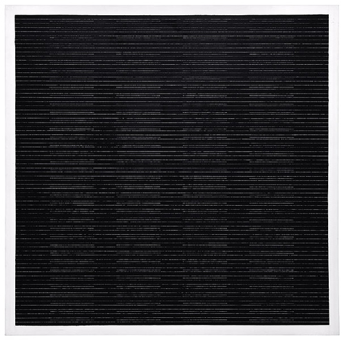 "Agnes Martin, The Sea, 2003. Acrylic and graphite on canvas. 60""x60"""